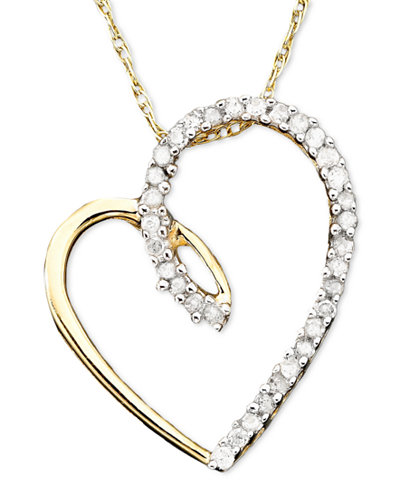 Diamond Heart Pendant Necklace in 14k Gold (1/10 ct. t.w.)