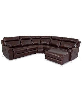 Braddy 5 Piece Leather Sofa Chaise With 2 Power Motion