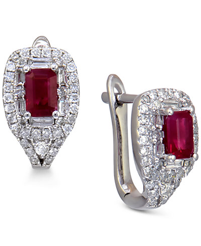 Ruby (3/4 ct. t.w.) and Diamond (1/2 ct. t.w.) Stud Earrings in 14k White Gold