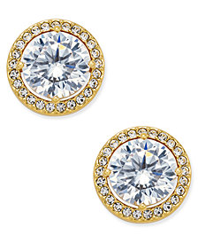 Danori Gold-Tone Cubic Zirconia Framed Stud Earrings, Created for Macy's