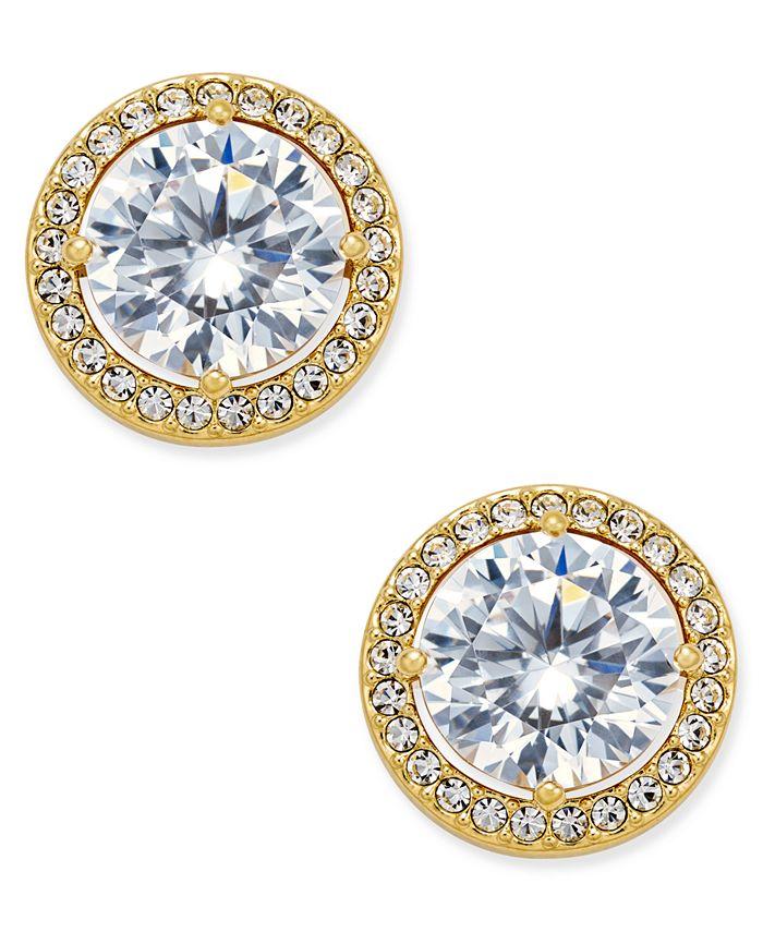 Eliot Danori - Gold-Tone Cubic Zirconia Framed Stud Earrings