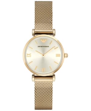 Emporio Armani Women's Gianni T-Bar Gold-Tone Stainless Steel Mesh Bracelet Watch 32mm AR1957