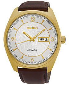 Seiko Men's Automatic Recraft Series Brown Leather Strap Watch 45mm SNKN70