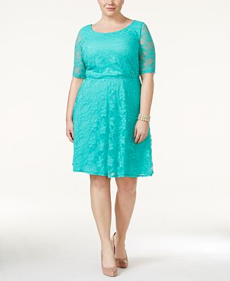 Love Squared Trendy Plus Size Short Sleeve Lace A Line