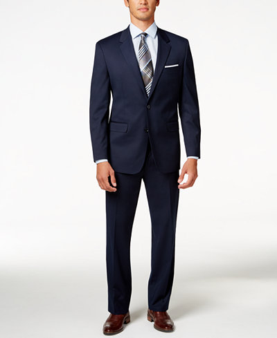 Alfani Men's Traveler Navy Solid Big and Tall Classic-Fit Suit Separates, Created for Macy's