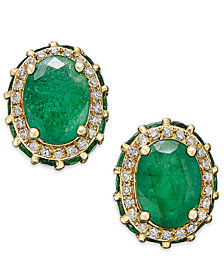 Emerald (3-7/8 ct. t.w.) and White Sapphire (1/5 ct. t.w.) Oval Stud Earrings in 10k Gold, Created for Macy's