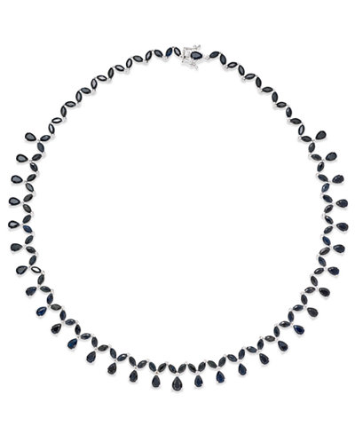 Black Sapphire (13 ct. t.w.) and White Topaz Accent Collar Necklace in Sterling Silver, Created for Macy's