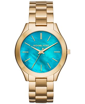 Michael Kors Women's Slim Runway Gold-Tone Stainless Steel Bracelet Watch 42mm MK3492