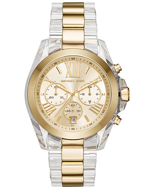 Michael Kors Women's Chronograph Bradshaw Two-Tone Stainless Steel and Acetate Bracelet Watch 43mm MK6319
