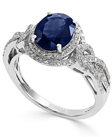 Royale Bleu by EFFY® Sapphire (1-9/10 ct. t.w.) and Diamond (1/3 ct. t.w.) Oval Ring in 14k White Gold