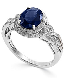 Royale Bleu by EFFY Sapphire (1-9/10 ct. t.w.) and Diamond (1/3 ct. t.w.) Oval Ring in 14k White Gold