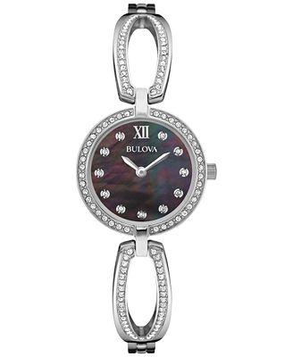 Bulova Women's Crystal Accent Stainless Steel Bangle Bracelet Watch 26mm 96L224