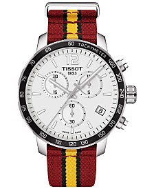 Tissot Unisex Swiss Chronograph Miami Heat Quickster Red, Black and Yellow Strap Watch 42mm T0954171703708