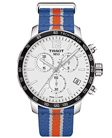 Unisex Swiss Chronograph New York Knicks Quickster Blue, White and Orange Strap Watch 42mm T0954171703706