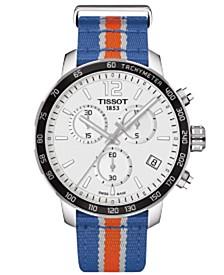 Unisex Swiss Chronograph New York Knicks Quickster Blue, White and Orange Strap Watch 42mm T0954171703706