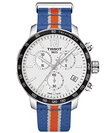 Tissot Unisex Swiss Chronograph New York Knicks Quickster Blue, White and Orange Strap Watch 42mm T0954171703706
