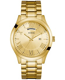 GUESS Men's Gold-Tone Stainless Steel Bracelet Watch 44mm U0791G2