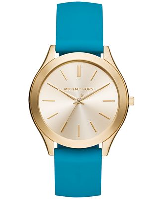Michael Kors Women's Slim Runway Sporty Teal Silicone Strap Watch 42mm MK2509, Created for Macy's
