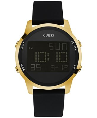 guess s digital chronograph black leather