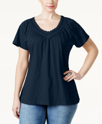 JM Collection Plus Size Crochet V-Neck Tee, Only at Macy's