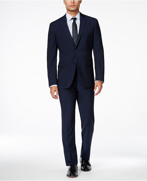 Portfolio Men's Blue Plaid Slim-Fit Suit