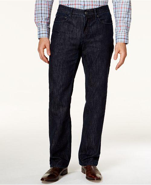 Alfani Straight-Leg Dark Blue Wash Jeans, Created for Macy's
