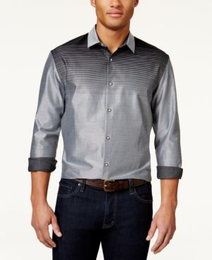 Alfani Men's Ombre Striped Long-Sleeve Shirt, Created for Macy's thumbnail