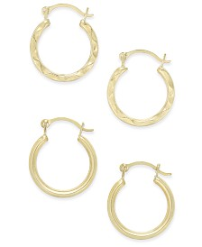 Duo Set of Small Round Hoop Earrings in 10k Gold