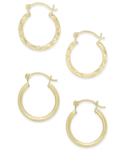 Macy's Duo Set of Small Round Hoop Earrings in 10k Gold