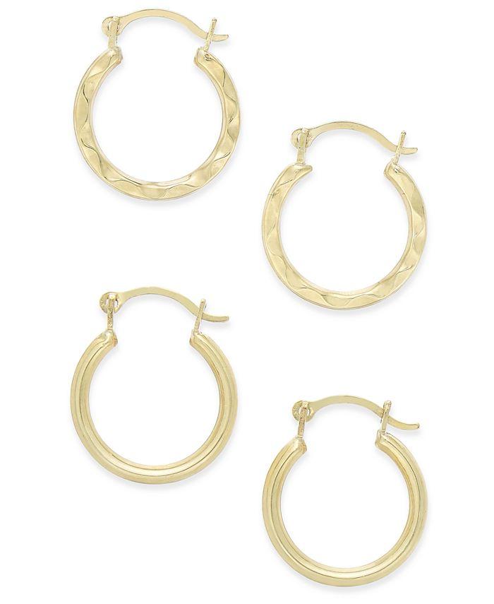 Macy's - Duo Set of Small Round Hoop Earrings in 10k Gold