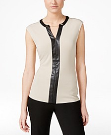 Contrast-Trim Chain-Neck Top