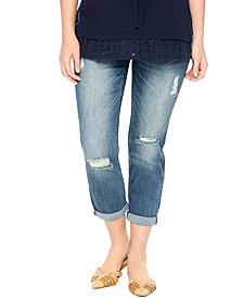 Motherhood Maternity Distressed Cropped Jeans