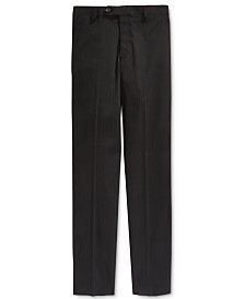 Lauren Ralph Lauren Charcoal Stripe Pants, Big Boys Husky