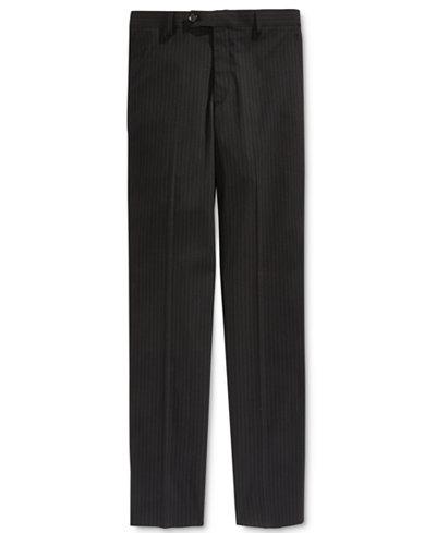 Lauren Ralph Lauren Charcoal Stripe Pants, Big Boys Husky