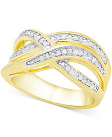Victoria Townsend Diamond (1/4 ct. t.w.) Weave-Style Ring in Sterling Silver or 18k Gold-Plated Sterling Silver