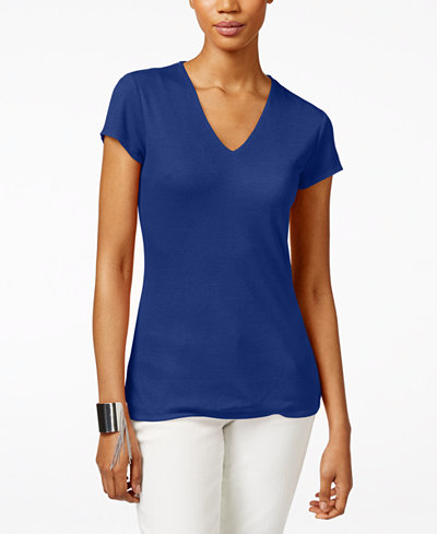INC International Concepts Ribbed V-Neck Top, Created for Macy's
