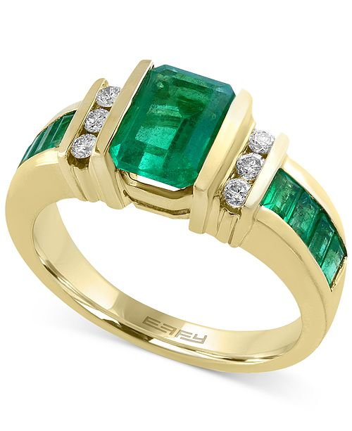 EFFY Collection EFFY® Emerald (2-1/4 ct. t.w.) and Diamond (1/6 ct. t.w.) Ring in 14k Gold(Also Available in Sapphire)