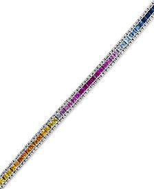 Watercolors by EFFY Multi-Sapphire (8-1/4 ct. t.w.) and Diamond (9/10 ct. t.w.) Tennis Bracelet in 14k White Gold, Created for Macy's