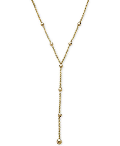Beaded Station Rope Lariat Necklace in 14k Gold