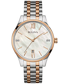 Bulova Women's Diamond Accent Two-Tone Stainless Steel Bracelet Watch 36mm 98P150