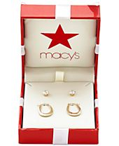 Duo Set Cubic Zirconia Stud Earrings and Oval Hoop Earrings in 10k Gold