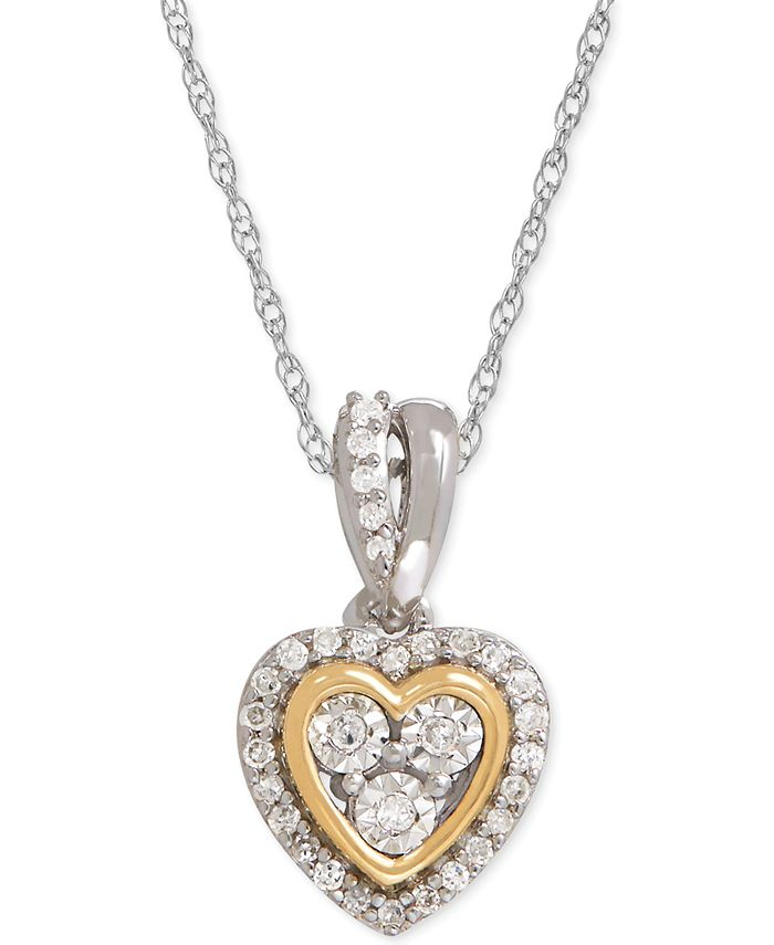Macy's - Diamond Mini-Heart Pendant Necklace (1/10 ct. t.w.) in Sterling Silver and 14k Gold