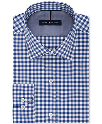 Tommy hilfiger men 39 s slim fit non iron medium blue gingham for Slim fit non iron dress shirts