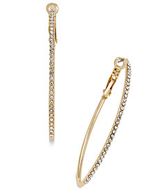 "Thalia Sodi Extra Large 2.4"" Gold-Tone Crystal Pavé Marquise Hoop Earrings, Created for Macy's"