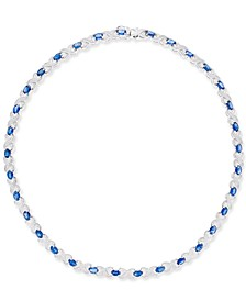 Sapphire (17-1/2 ct. t.w.) and Diamond Accent All-Around Collar Necklace in Sterling Silver, Created for Macy's