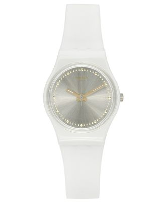Swatch Women's Swiss Power Tracking Off-White Silicone Strap Watch 25mm LW148