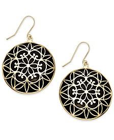 Onyx Decorative Medallion Drop Earrings (23mm) in 14k Gold