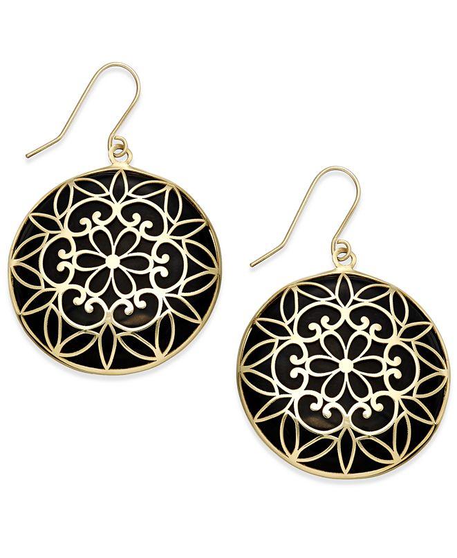 Macy's Onyx Decorative Medallion Drop Earrings (23mm) in 14k Gold