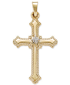 Diamond Accent Beaded-Edge Cross Pendant in 14k Gold