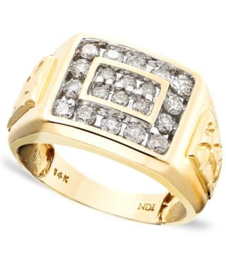 Mens 14k Gold Ring Diamond 1 ct tw Rings Jewelry